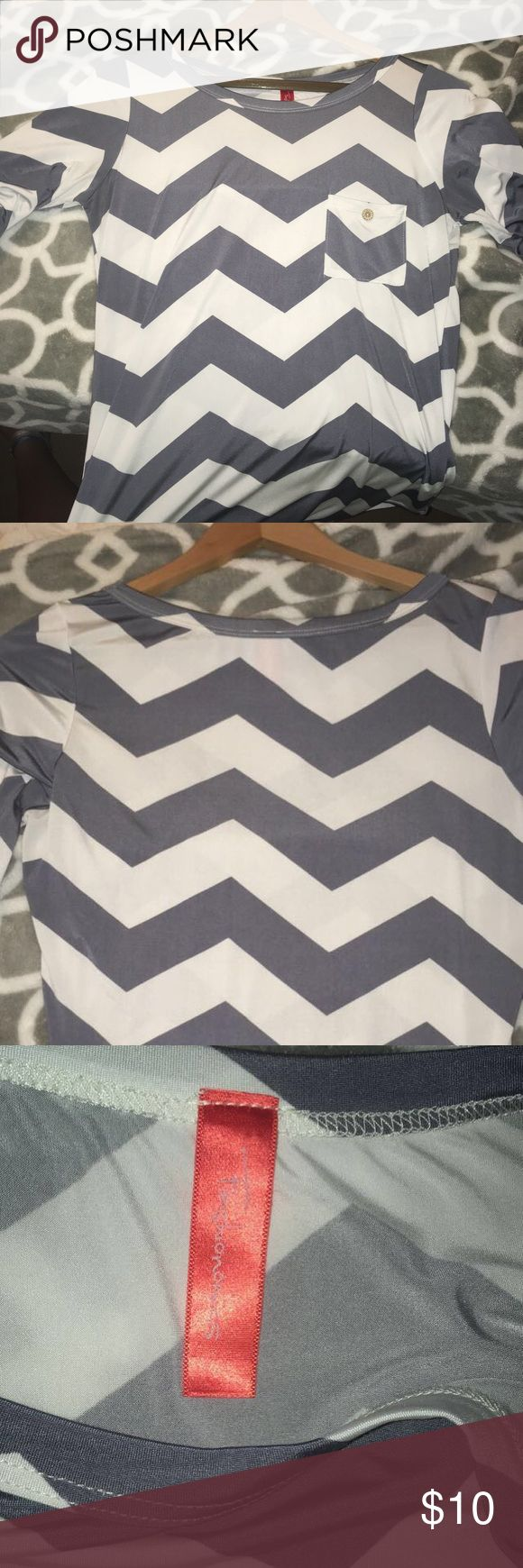 Grey Chevron Top Chevron top with pocket & roll up sleeve Fashionomics Tops