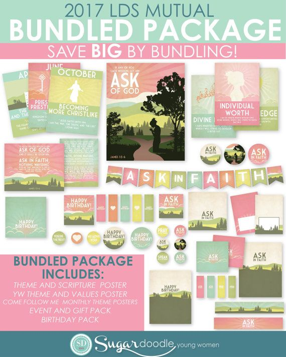 Need invitations? Find the coordinating invites here--> http://etsy.me/2cwAXUE Or purchase the DIY Editable Invites here--> http://etsy.me/2d7DB0T  Make your life EASY with this 2017 LDS MUTUAL YOUNG WOMEN BUNDLED PACKAGE! It has EVERYTHING you need this year for Young Womens!  **This Bundled Pack includes 2017 Printable Poster Pack, Birthday Pack and Event / Gift Pack. You DO NOT need to purchase these items individually, as they are ALL included in this Bundled Pack!  This BUNDLED PACK…