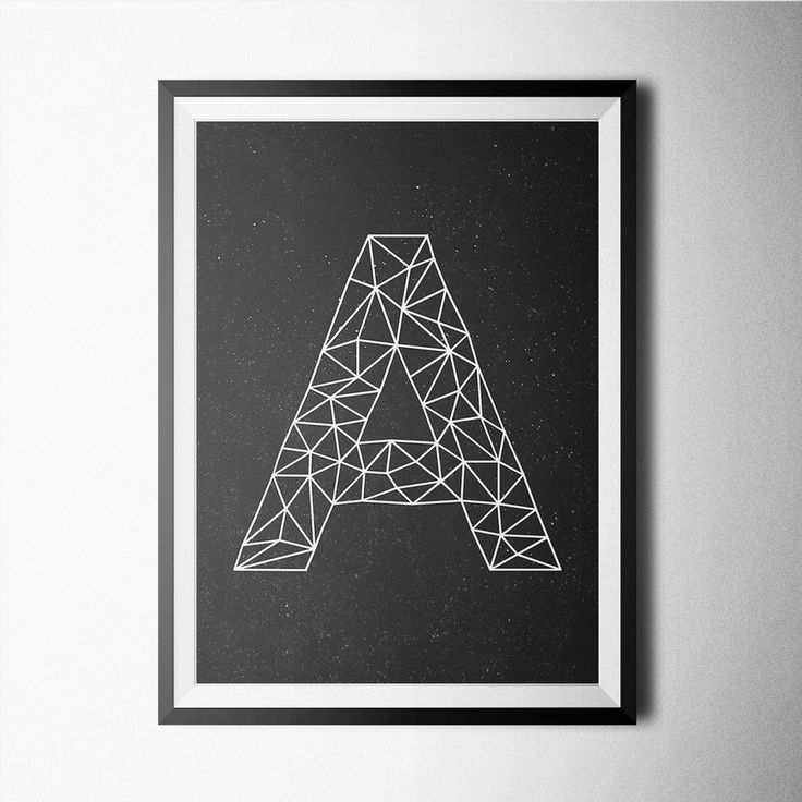 Black and white letter A poster design for home or office decoration