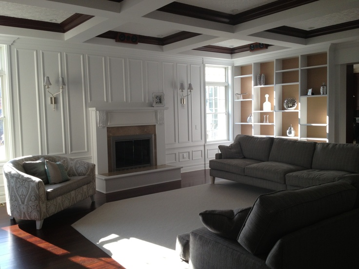 Syosset Ny Family Room Coffered Ceiling With Damask Tone