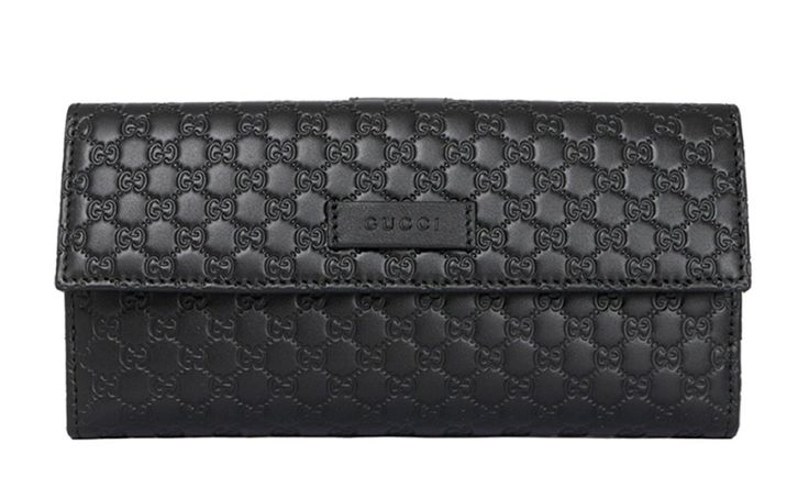 Gucci black leather continental flap wallet 305282 gucci
