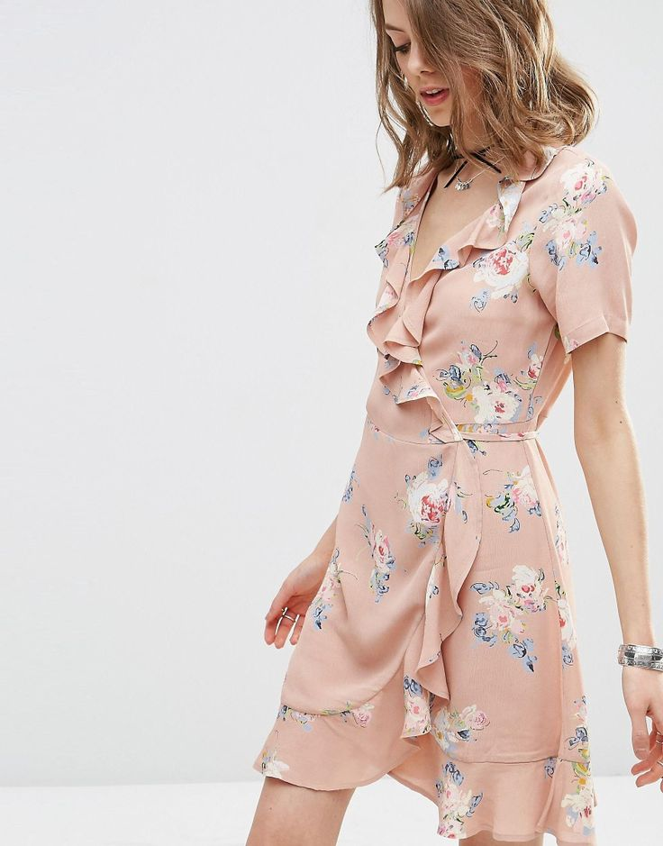 Image 3 of ASOS Wrap Front Tea Dress with Frill in Pretty Floral Print