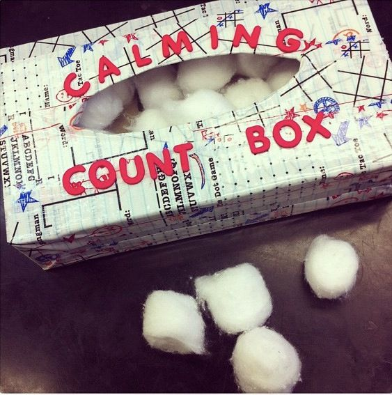 Behavior management tool: -used an old Kleenex box and covered it with duck tape. -cotton balls (20) -When a student is starting to throw a fit or having a hard time following directions you have them dump out the 20 items and count them as they put it back in box until they calm down!!