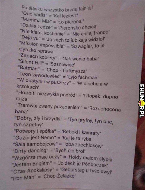 Po śląsku to wszystko brzmi fajniej xD – eHumor.pl – Humor, Dowcipy,  Najlepsze Kawały, Zabawne zdjęcia, fotki, filmiki