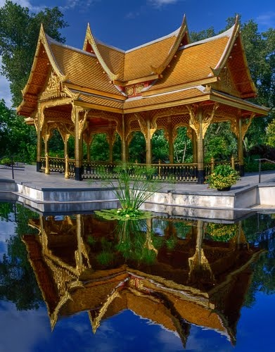 The Thai Pavilion At Olbrich Botanical Gardens So Serene That It Almost Looks Like A Painting