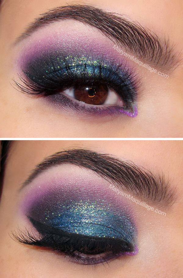 """Holiday Lights"" smokey eye makeup.  Purple and blue with a winged tip... love the use of color."