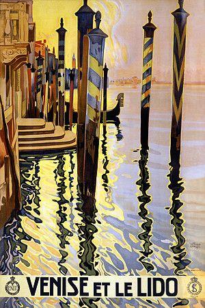 Venise et le Lido by Grassi Venice Italy Gondolas Italian Travel Vintage Poster Art Prints