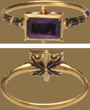 RENAISSANCE GEMSTONE RING  Western Europe, late 16th centuryGold, amethyst and enamel