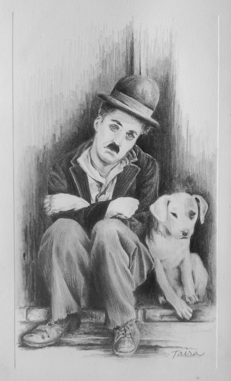 """My Pencil drawing of Chaplin from """"A Dog's Life."""""""