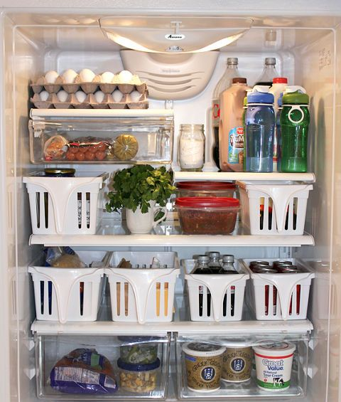 When you're forced to jam groceries into even the farthest corner, it's a total hassle to retrieve them later. Deep bins mean you can pull out sections of stuff in one quick movement — and avoid the daily excavation at dinnertime. Click through for a how-to and other space-saving refrigerator organizing hacks.