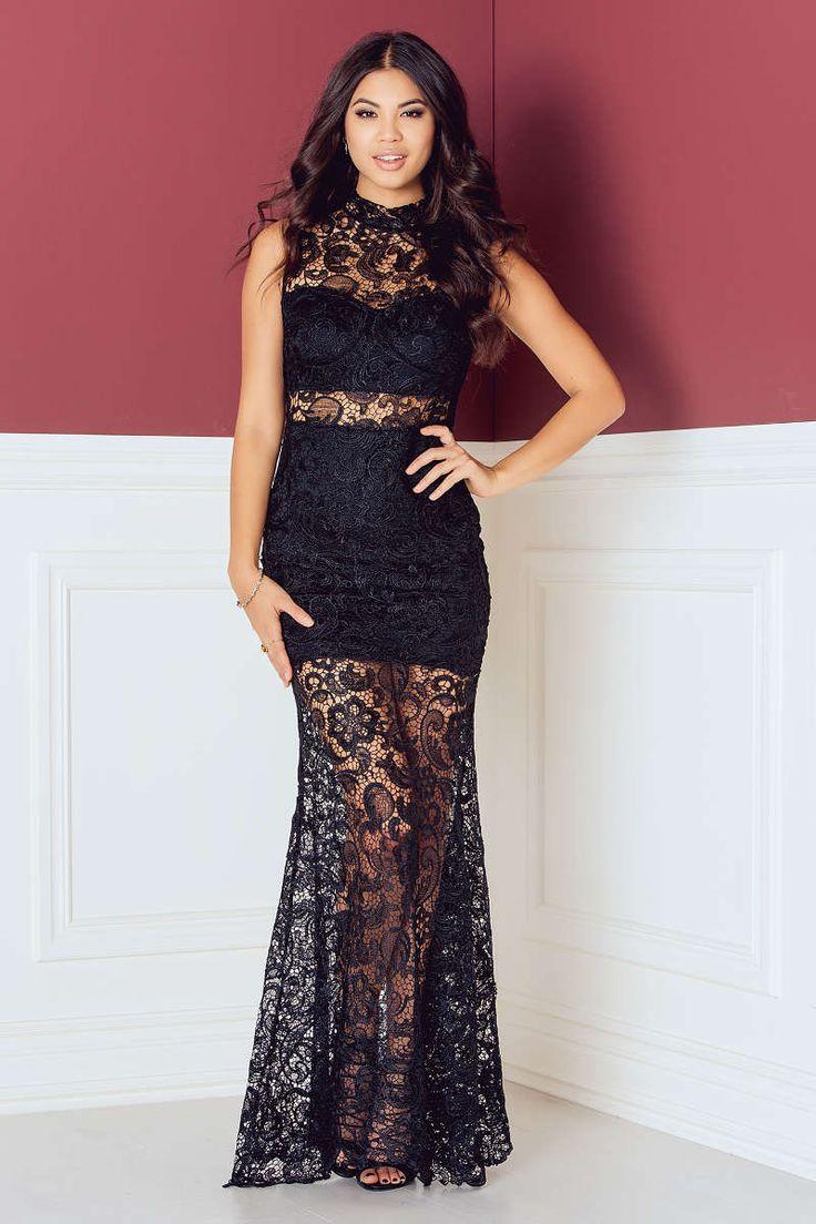 High Neck Crochet Detail Maxi Dress