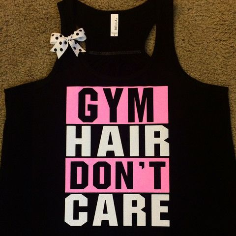 Gym Hair Don't Care - BLACK - Gym Tank - Ruffles with Love - Racerback