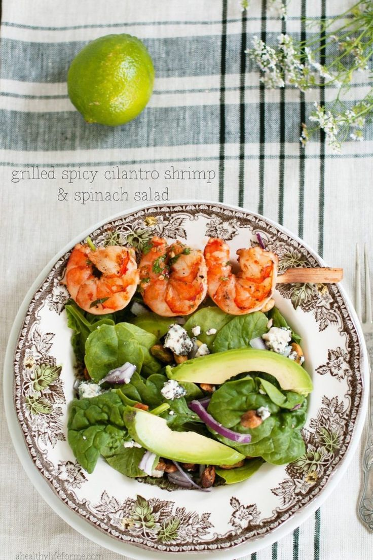 Grilled Spicy Cilantro Shrimp and Spinach Salad is perfect for a light summer or spring meal!