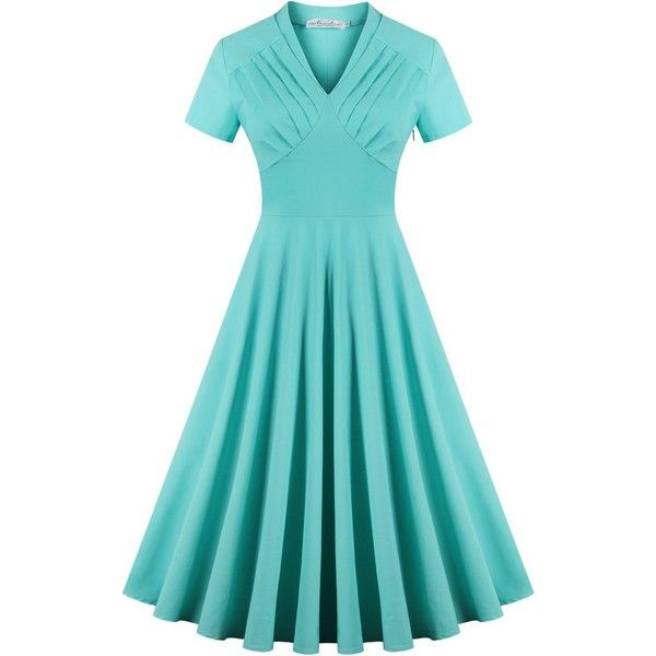 Newdow Women's 50s Short Sleeve Autumn Swing Dress (Small, Light... ($23) ❤ liked on Polyvore featuring dresses, blue swing dress, short sleeve dress, blue dress, light green dress and short sleeve swing dress
