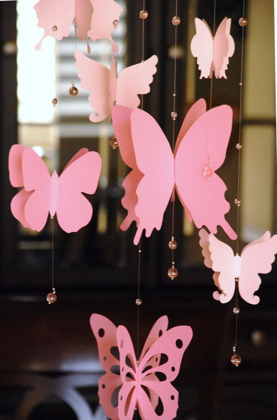 3D paper butterfly mobile, baby nursery, room decoration in shaded pink