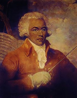 """Joseph Boulogne, Chevalier de Saint-George (sometimes erroneously spelled Saint-Georges) (December 25, 1745 – June 10, 1799) was an important French-Caribbean figure in the Paris musical scene in the second half of the 18th century as composer, conductor, and violinist. Prior to the revolution in France, he was also famous as a swordsman and equestrian. Known as the """"Black Mozart"""" he was one of the earliest musicians of the European classical type known to have African ancestry."""