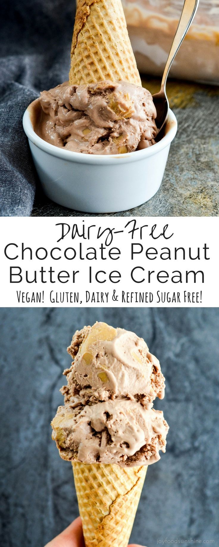 Dairy-Free Chocolate Peanut Butter Ice Cream! A healthy ice cream recipe that is ultra creamy. Made with 6 good-for-you ingredients! Dairy-free, gluten-free, refined sugar free, vegan