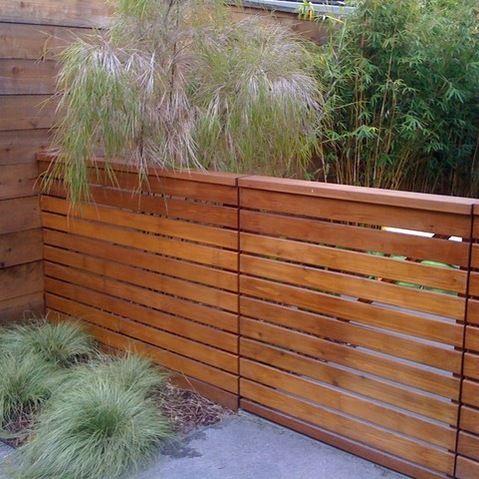 Modern horizontal wood fence