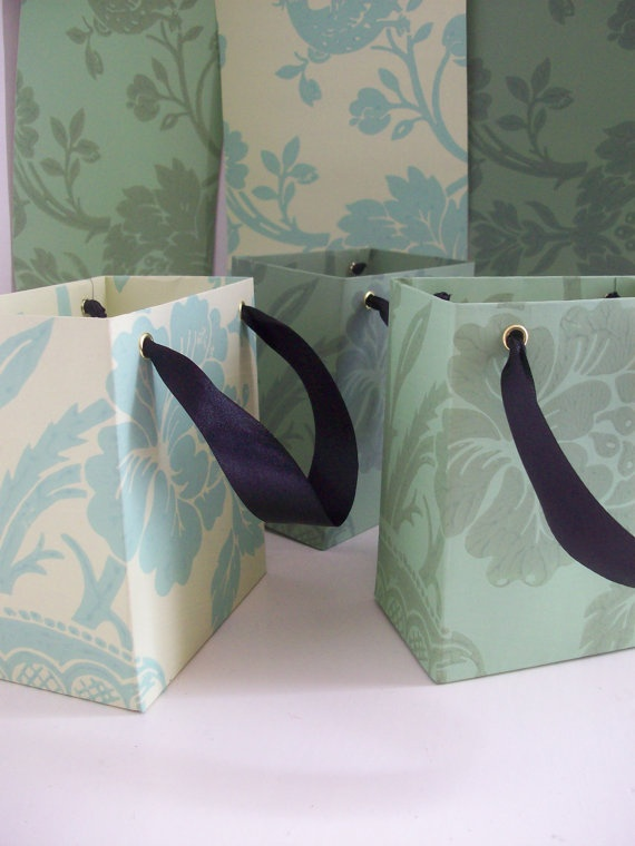 Recycled Wallpaper Gift Bags  Set of Three by LaPommeEtLaPipe, $6.00