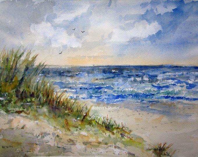 Pintura De La Playa Acuarela Paisaje Impresion Pintura De Verano Pinturas Paisajes Marinos Acuarela De Playa