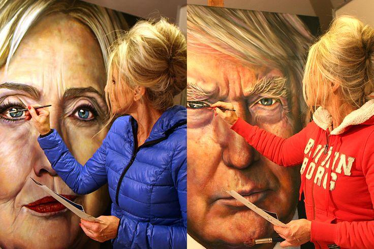 Vorig jaar mengde ik me in de strijd met mijn verf tussen de twee amerikaanse presidentskandidaten. Expressie en inspiratie vond ik in de life debatten.Op naar de hillarische uitslag van 8 november. Augustus, September en oktober 2016 waren enerverende maar inspirerende maanden. Waarin ik Hillary Clinton en Donald J. Trump op doek vereeuwigde in het heetst van de strijd. https://www.youtube.com/channel/UChqUo8qq4T6cm6z0dj9T8Gg