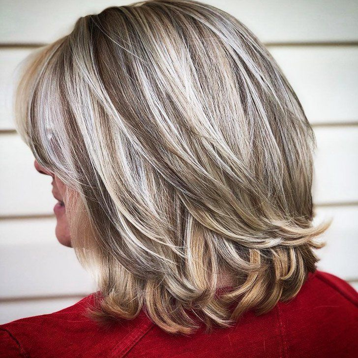 25 Balayage Bob With Curly Ends Many Women Over 50 Tend To Worry About Having Gray H Mid Length Hair With Layers Blending Gray Hair Medium Length Hair Styles