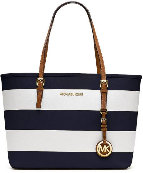 michael cors travel tote | Michael By Michael Kors Jet Set Travel Tote in Blue (navy/white ...