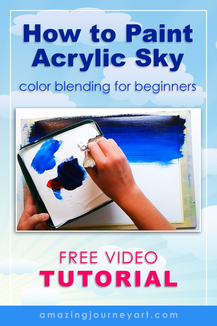 Free video tutorials: acrylic painting for beginners. Learn easy color blending technique to create a night sky with acrylic paints.