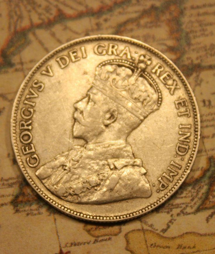 1917 NEWFOUNDLAND CANADA SILVER 50 CENT COIN