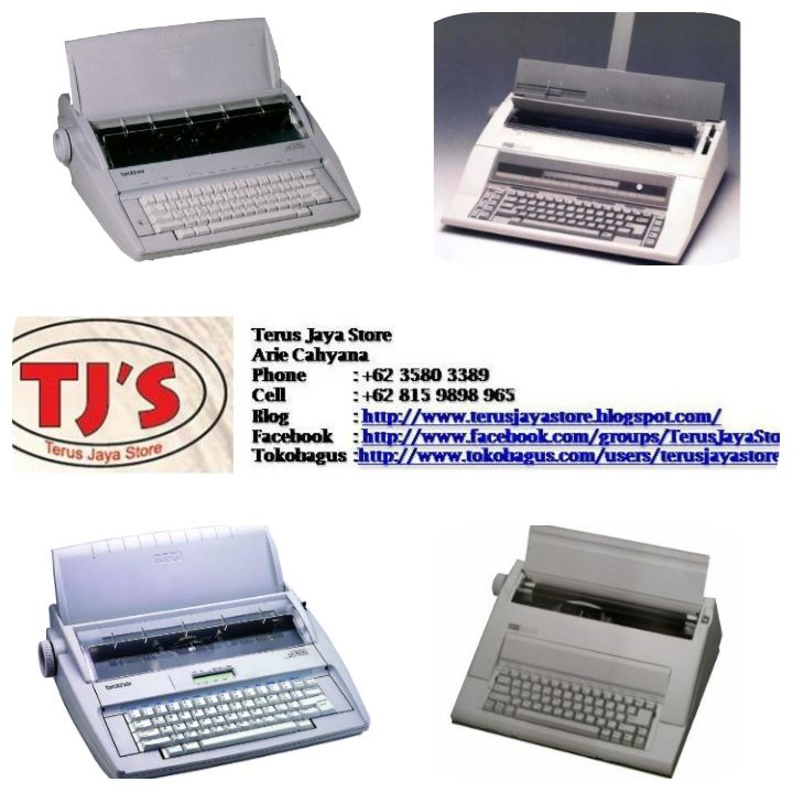 "Electric Typewriter/ Mesin Ketik Elektrik ;  Merk/Tipe :  + Brother GX 8250 (Display 13""),  + Nakajima AX 160 (Display 13""),  + Brother GX 6250 (Non Display 13""),  + Nakajima AX 150 (Non Display 13""),  + Nakajima AE 640 (Display 15""),  + Nakajima AE 830 (Display 17"").   Call :  Terus Jaya Store (Arie Cahyana)  Hp: 08159898965  Email : arie_cahyanas@ymail.com Blog : hhtp://terusjayastore.blogspot.com/  Facebook : https://www.facebook.com/groups/TerusJayaStore/  #cashregister #me"