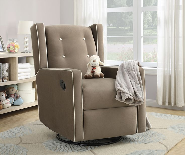 The Baby Relax Mikayla Swivel Gliding Recliner in mocha features so many comfortable features that you won't ever want to leave your child's room!