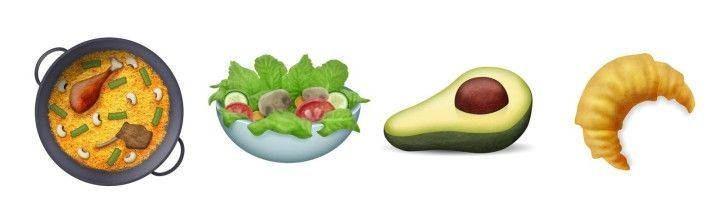 There Also New Food Items Behold A Paella Salad Avocado And Croissant Clown Avocado And Owl Emojis Are Finally Here Buzzfeed News Salad Emoji Clown In 2020