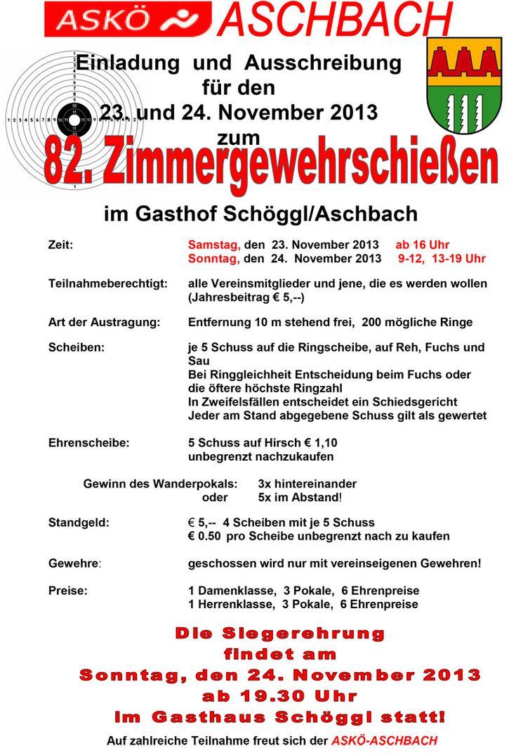 Einladung zum 82. Zimmergewehrschießen – ASKÖ Aschbach