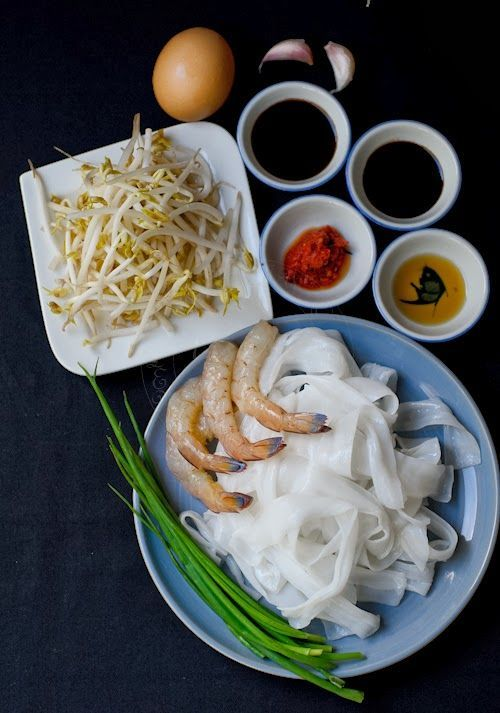 Ingredients for Char Kway Teow or Flat rice noodles stir-fry