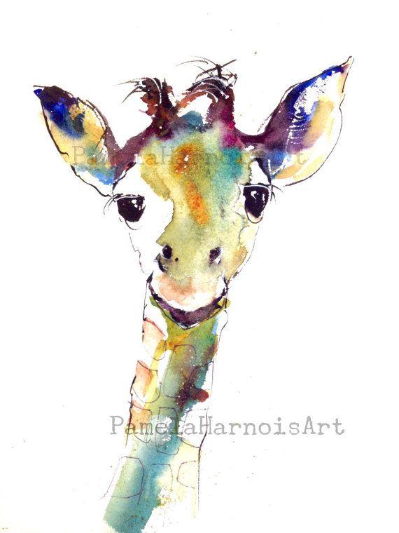 Giraffe Watercolor Art Print Zoo Animal Kids Art Children