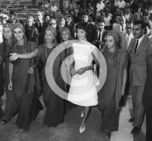 Jacqueline Kennedy with the actresses of the Ancient Theatre of Epidavros, Greece, 1961