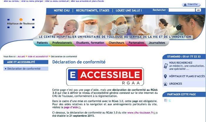 En septembre 2015, le CHU de Toulouse s'est vu décerner le label Accessiweb niveau 5, soit le plus haut niveau du label e-accessible de l'État visant à valoriser les administrations.