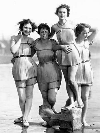 """Wooden Bathing Suits from 1929 """"""""Spruce Girls"""" on beach wearing spruce wood veneer bathing suits during """"Wood Week"""" to promote products of the Gray Harbor lumber industry, Hoquiam, Washington"""". The woman standing on the whale bone (yes, it's a whale bone) is my Nana, Elinore Eddy Anderson. My mom, her daughter, Susan Anderson, think's she is around 16 or 17 in this picture. I was so amazed to see my Nana's picture here on Pinterest and that someone else had pinned it."""
