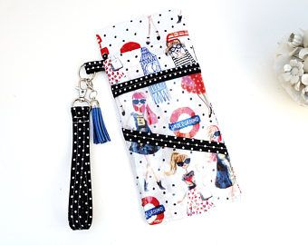 Tract Holder Passport Document Travel Open-Faced With One Fabric Pocket And 2 Clear Pockets Wristlet Swivel Key Holder & Cute Charms