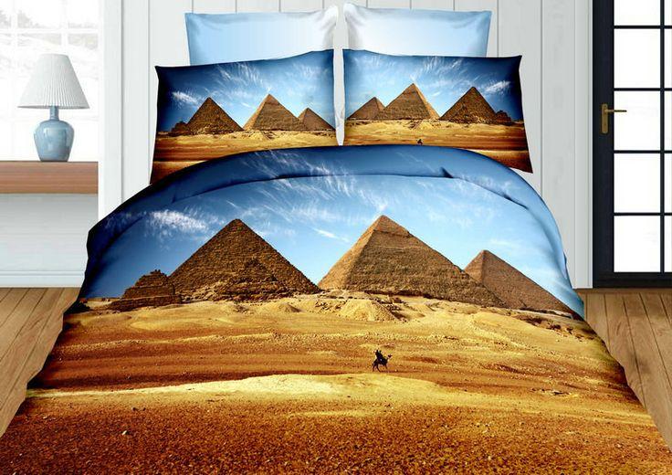 Egipt piramidy beżowa pościel z mikrowłókna