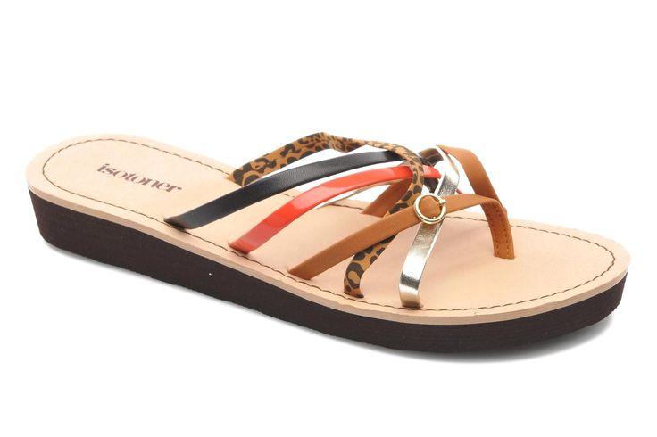 Isotoner Tong City Compensée Brides (Multicolore) - Sandales et nu-pieds chez Sarenza (214538)