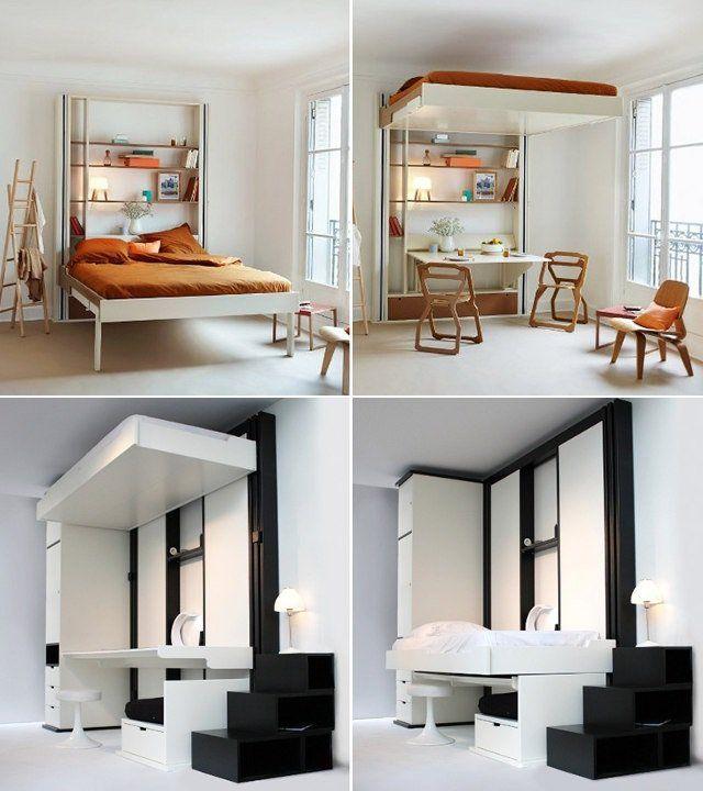 lit escamotable plafond en couleur noire et blanche