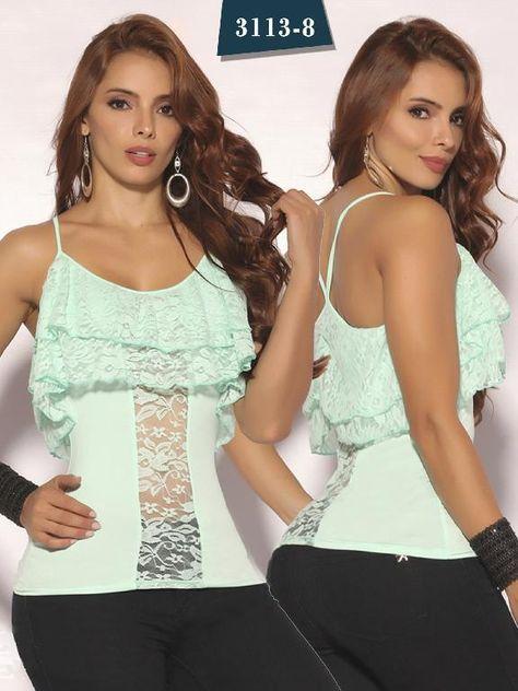f2fe67d62 Blusa Moda Colombiana Cereza - Ref. 111 -3113-8 Verde