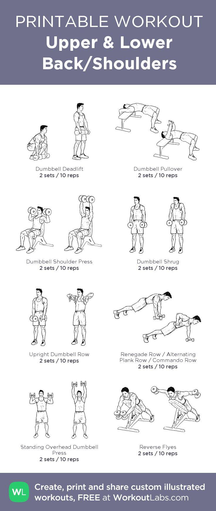 Upper& Lower Back/Shoulders:my custom printable workout by @WorkoutLabs #workoutlabs #customworkout