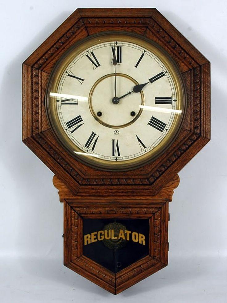 131: Sessions Oak Schoolhouse Regulator Wall Clock