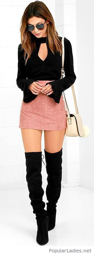 Black boots and top with pink mini skirt