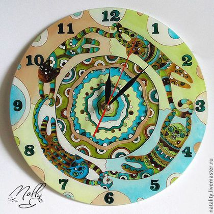 """Часы для дома ручной работы. Ярмарка Мастеров - ручная работа. Купить Часы """"Хвост за хвост"""" другие цвета. Handmade."""