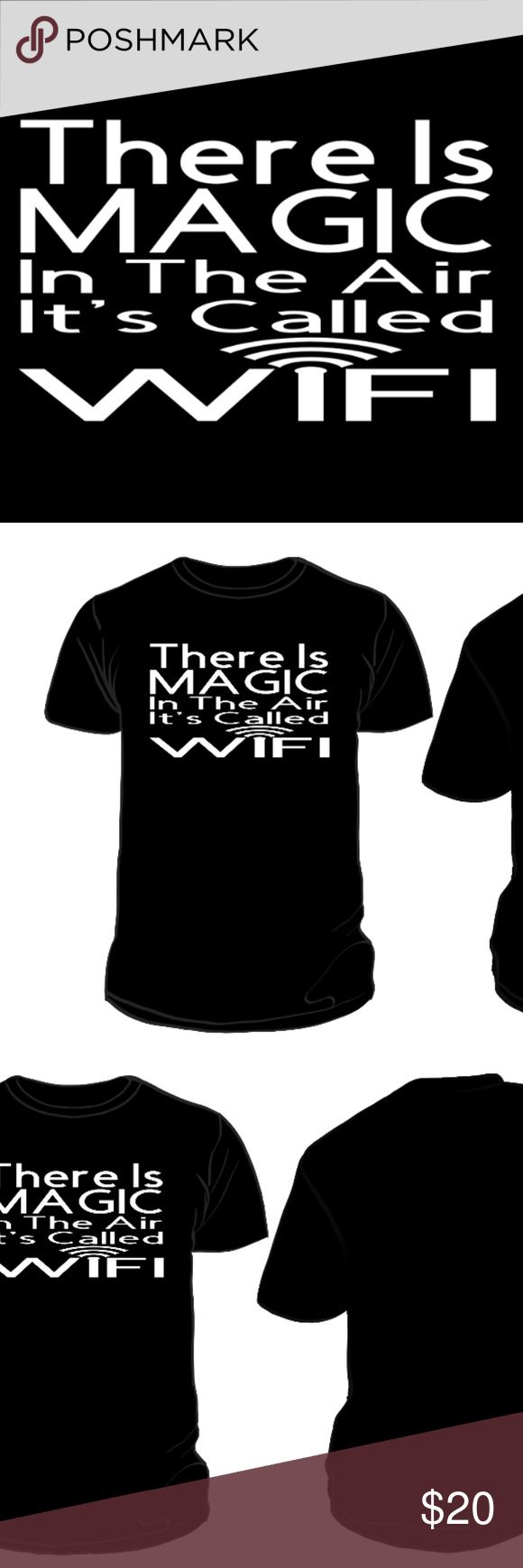 Magic In The Air Reflective Tee Magic In The Air Unisex T-Shirt  VISIBL creates unique, state of the art designs with high-end 100% Made In The USA materials.  - This design meets ANSI 107 and EN471 standards for retroreflectivity, meaning the design reflects light back to the light source.  - The design can be seen from be seen from over 500 feet away. - Perfect for night time, running, biking, clubbing, concerts, and more!  In other words, it is really, extremely reflective! VISIBL Tops…