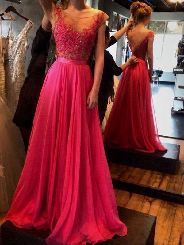 A-Line/Princess Sleeveless Scoop Floor-Length Applique Chiffon Dresses - Hebeos Online