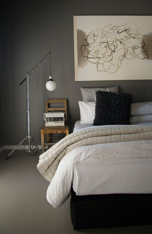 """Sneak Peek: Best of Gray. """"This is the guest bedroom in Luke Mortimer's Australian country house. The cross-stitch on the wall was done by his Grandmother who just used whatever thread she had on hand. It's the perfect pop of color against the gray wall in the white frame."""" #sneakpeek"""